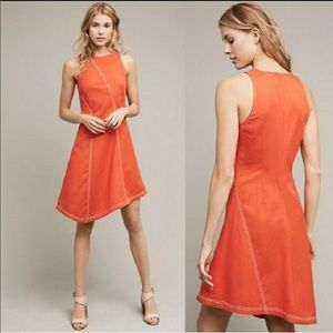 Anthropologie Maeve Asymmetrical Orange Dress